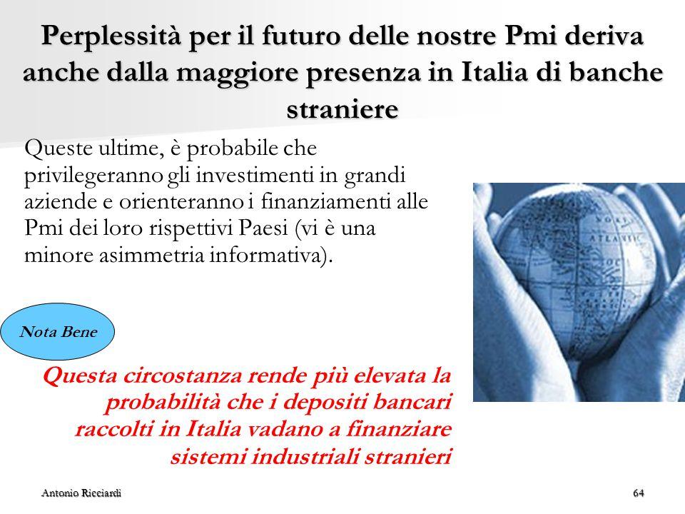 Perplessità per il futuro delle nostre Pmi deriva anche dalla maggiore presenza in Italia di banche straniere