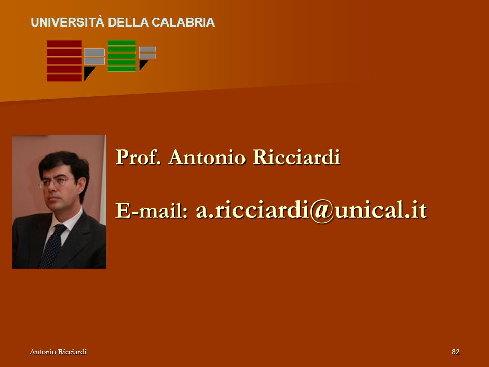 Prof. Antonio Ricciardi E-mail: a.ricciardi@unical.it