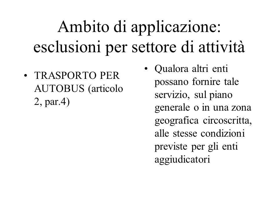 Ambito di applicazione: esclusioni per settore di attività
