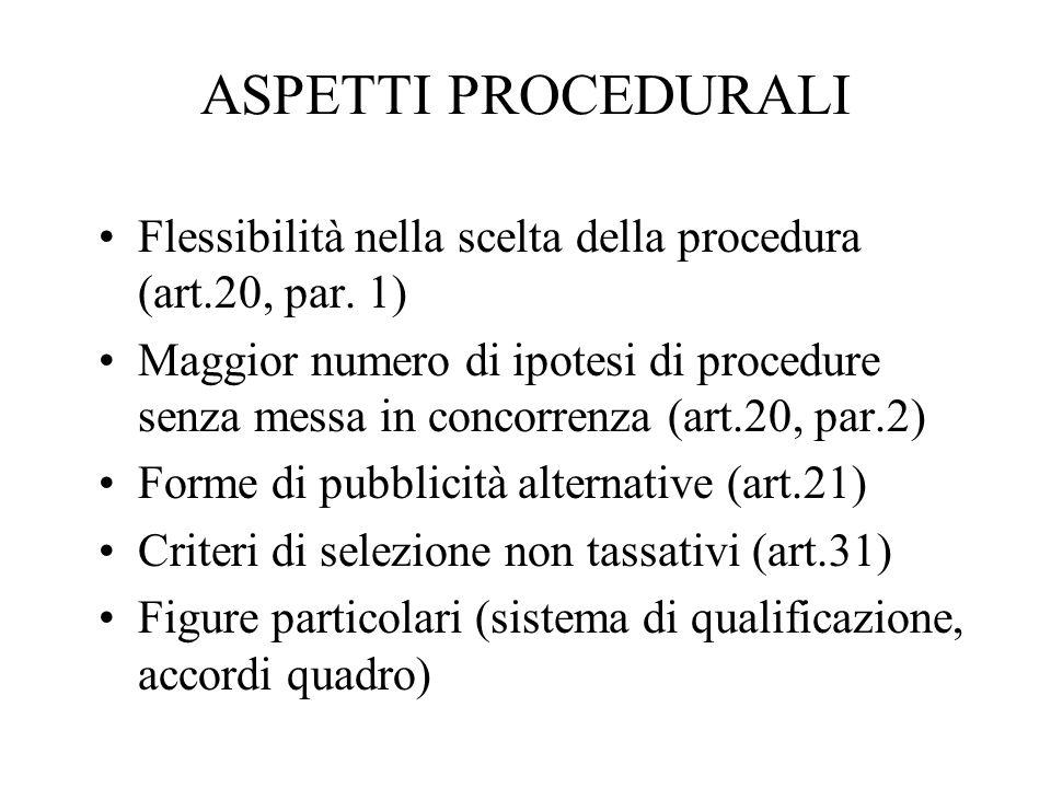 ASPETTI PROCEDURALI Flessibilità nella scelta della procedura (art.20, par. 1)