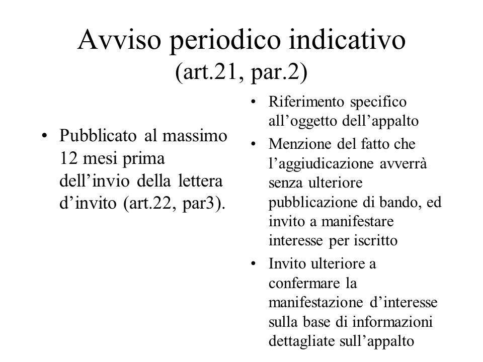 Avviso periodico indicativo (art.21, par.2)
