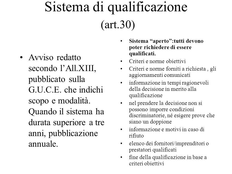 Sistema di qualificazione (art.30)
