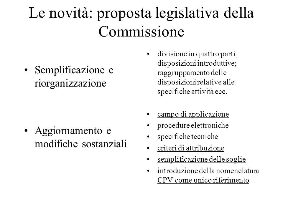 Le novità: proposta legislativa della Commissione