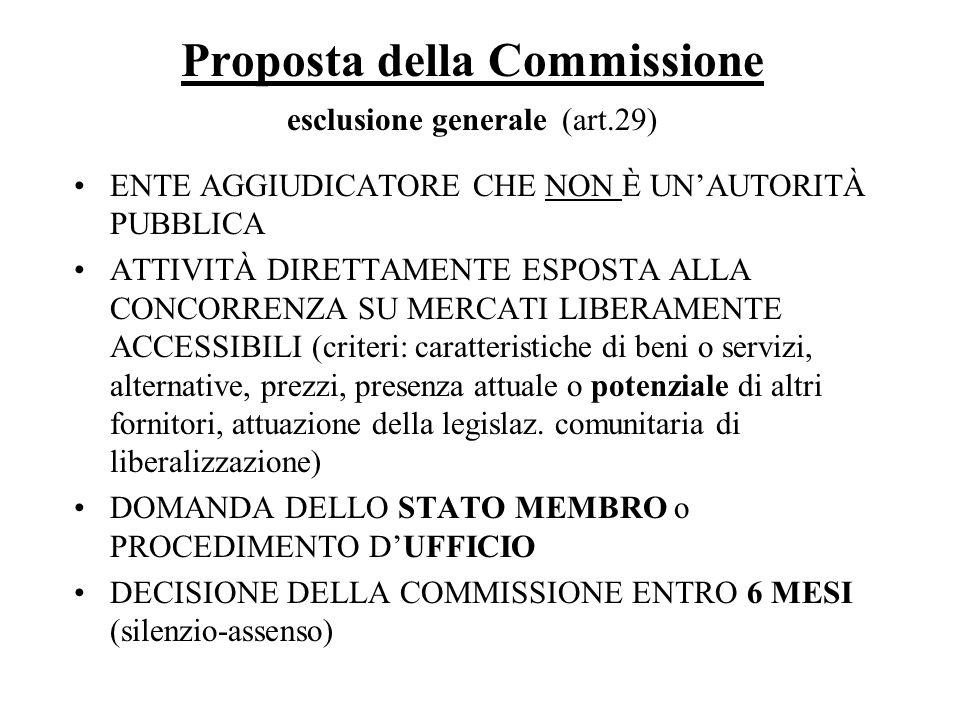 Proposta della Commissione esclusione generale (art.29)