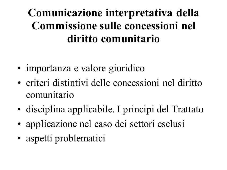 Comunicazione interpretativa della Commissione sulle concessioni nel diritto comunitario