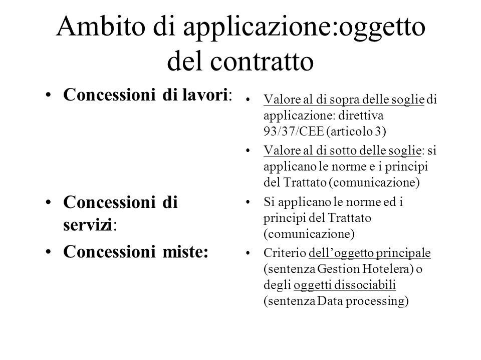 Ambito di applicazione:oggetto del contratto