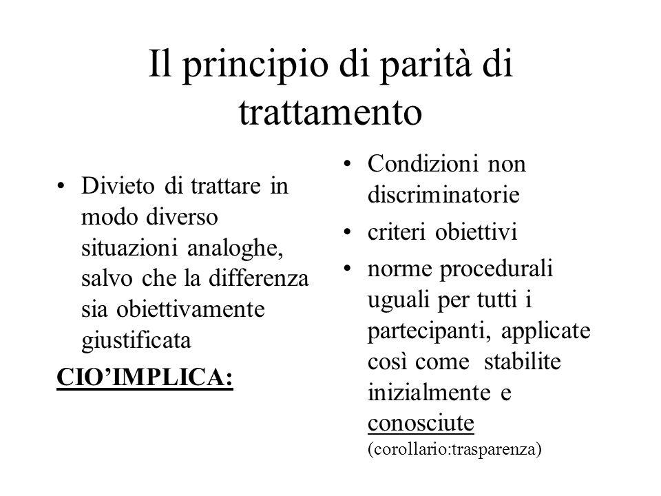 Il principio di parità di trattamento