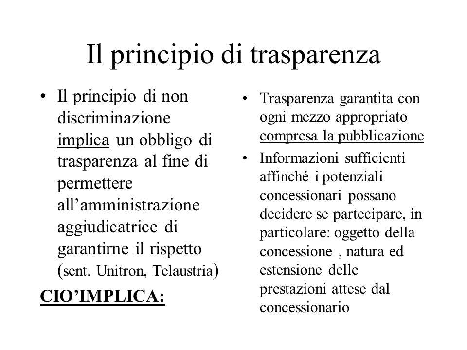 Il principio di trasparenza