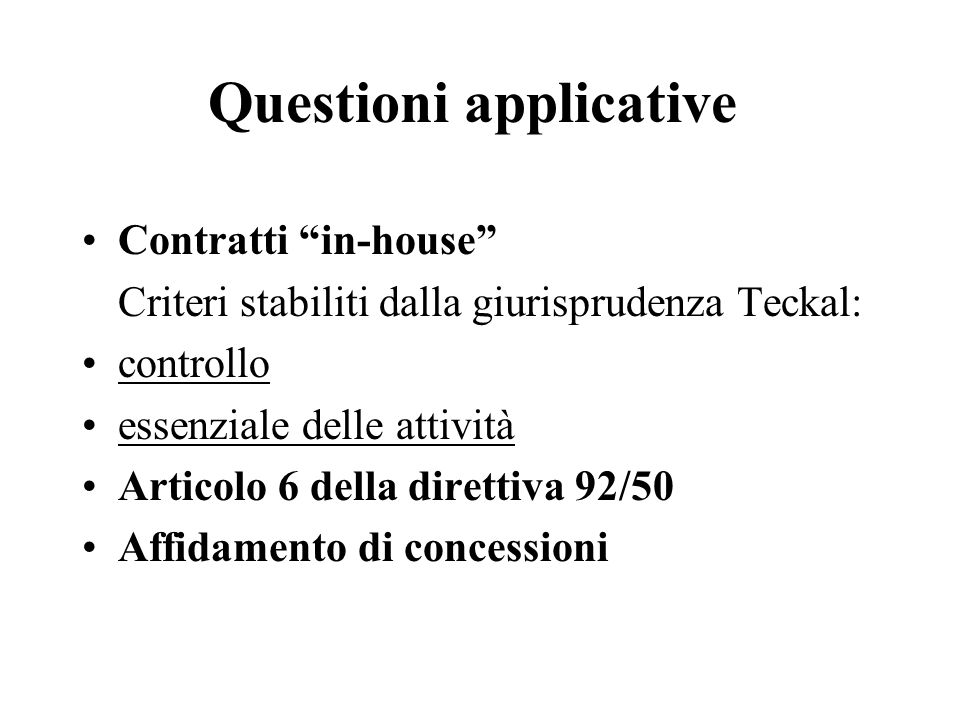Questioni applicative
