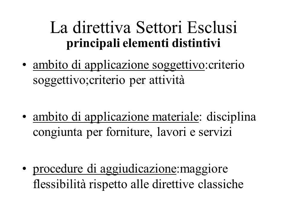La direttiva Settori Esclusi principali elementi distintivi