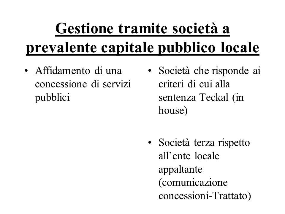 Gestione tramite società a prevalente capitale pubblico locale