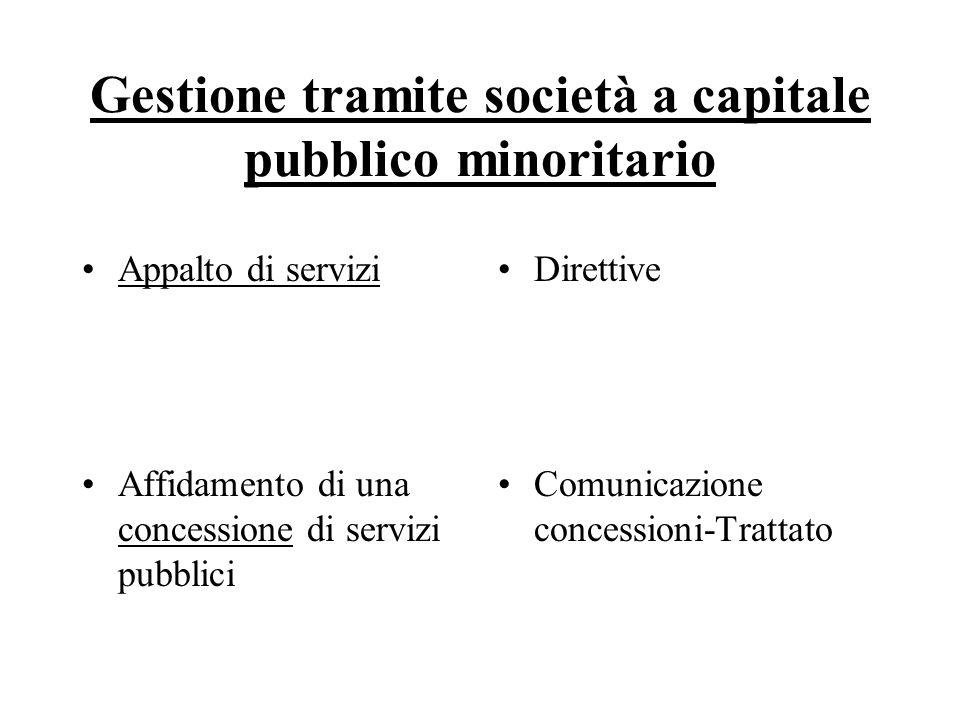 Gestione tramite società a capitale pubblico minoritario