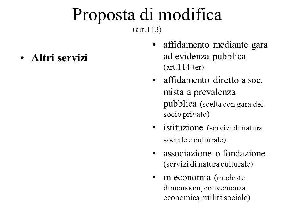 Proposta di modifica (art.113)