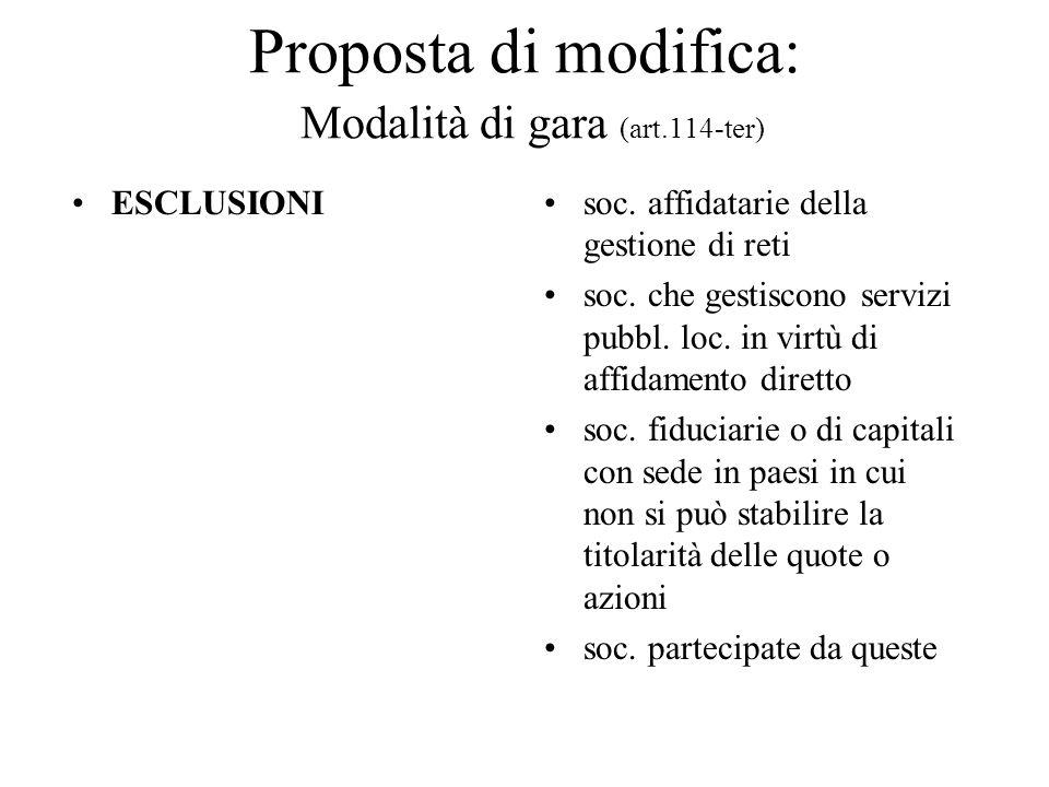 Proposta di modifica: Modalità di gara (art.114-ter)