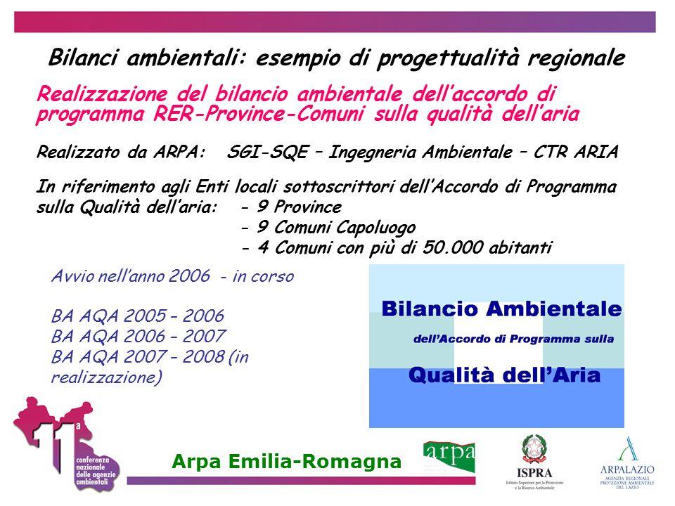 Bilanci ambientali: esempio di progettualità regionale
