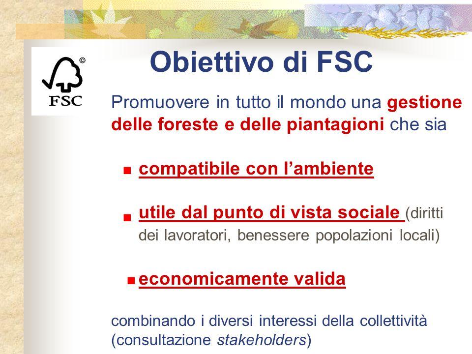 Obiettivo di FSC Promuovere in tutto il mondo una gestione delle foreste e delle piantagioni che sia.