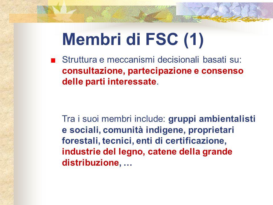 Membri di FSC (1) Struttura e meccanismi decisionali basati su: consultazione, partecipazione e consenso delle parti interessate.
