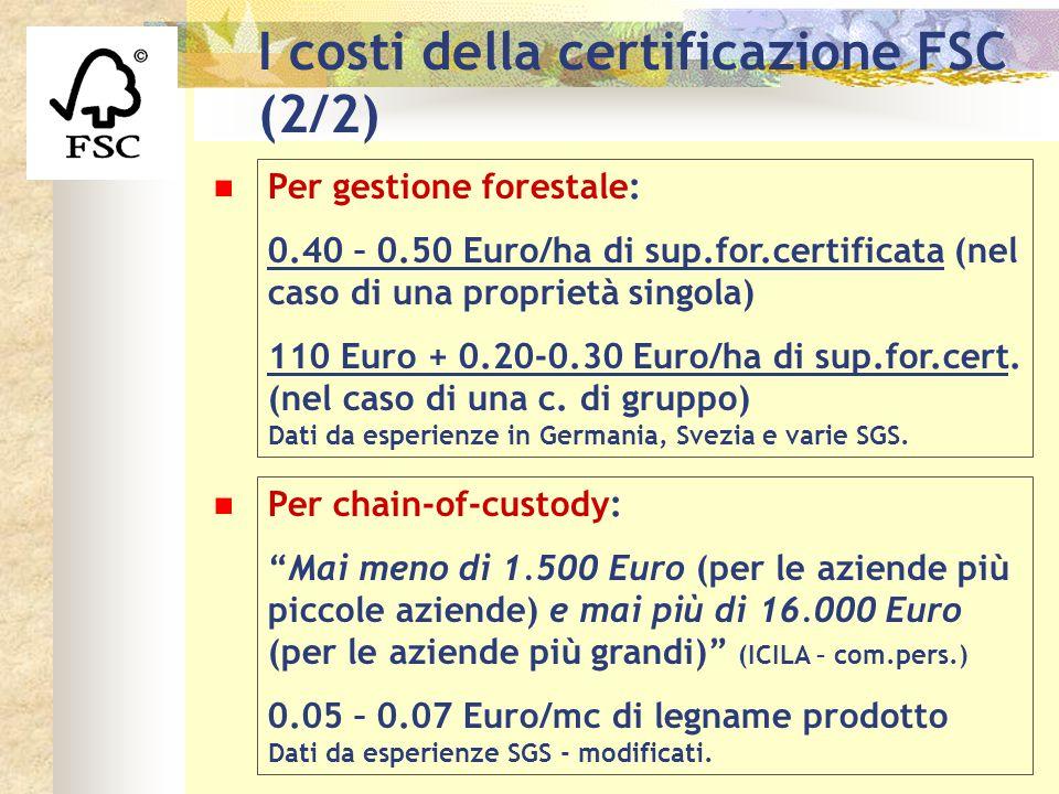 I costi della certificazione FSC (2/2)