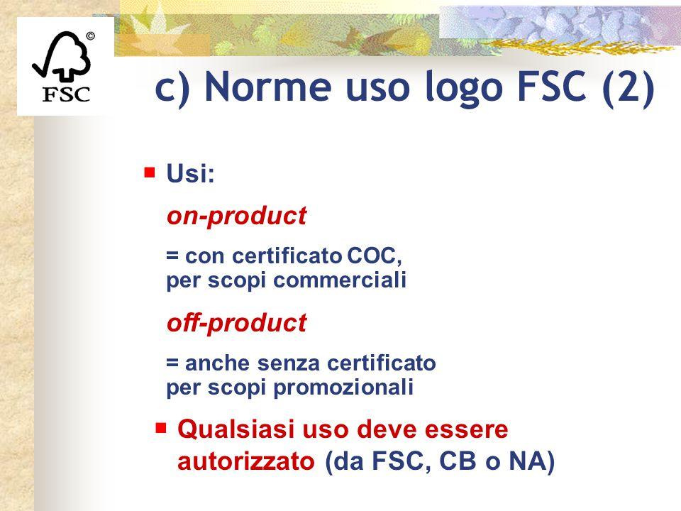 c) Norme uso logo FSC (2) Usi: on-product off-product