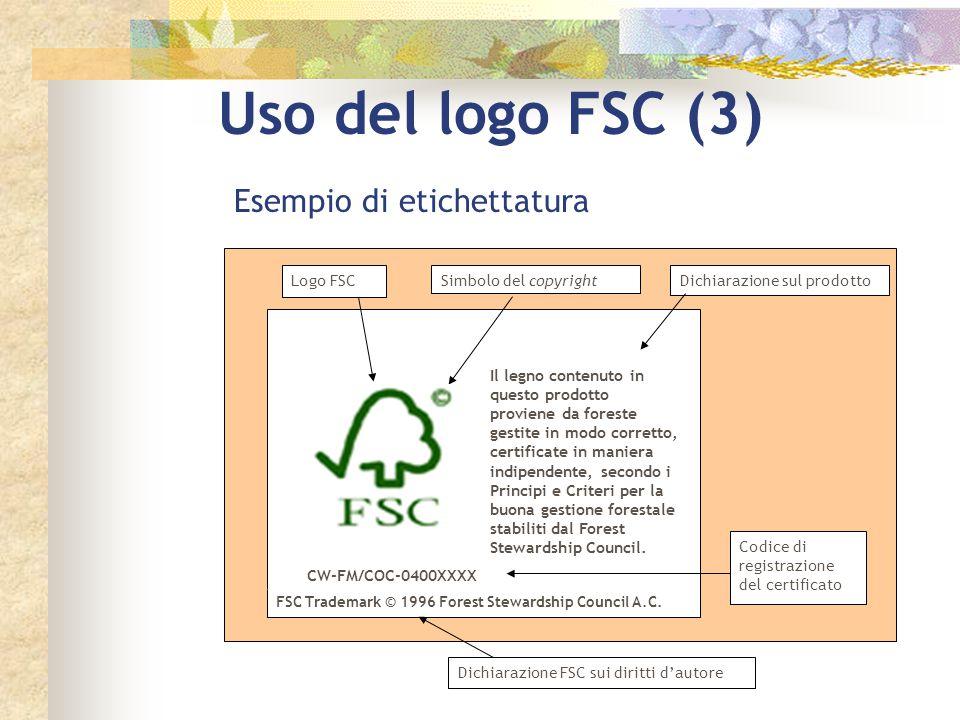 Uso del logo FSC (3) Esempio di etichettatura