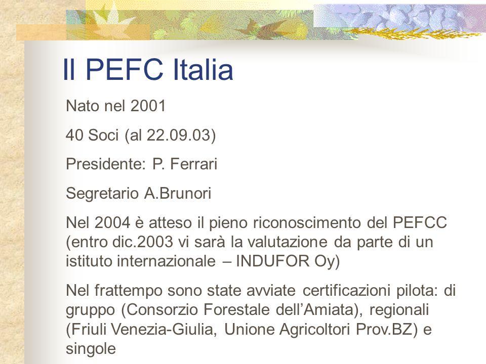 Il PEFC Italia Nato nel 2001 40 Soci (al 22.09.03)