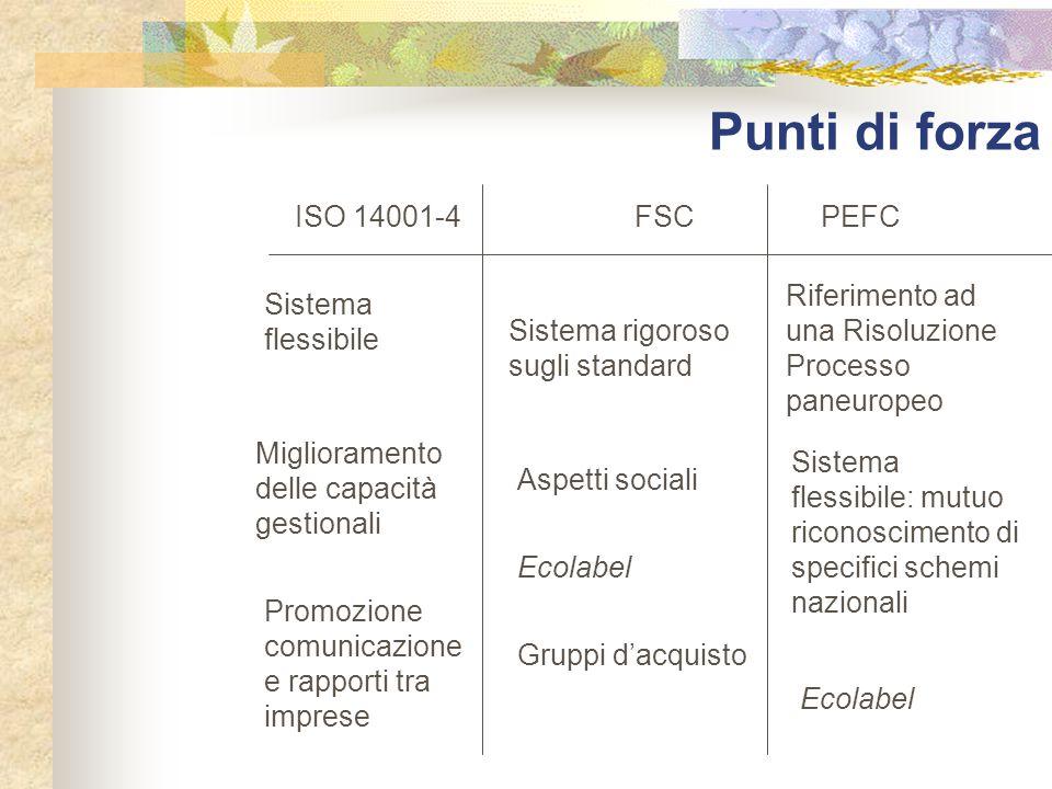 Punti di forza ISO 14001-4 FSC PEFC