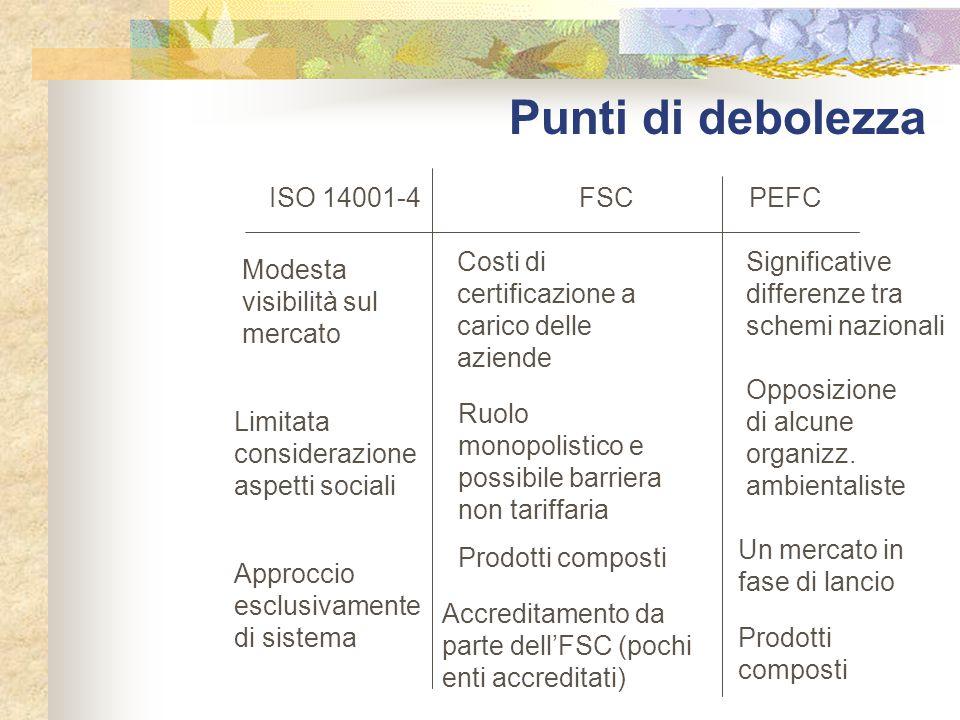 Punti di debolezza ISO 14001-4 FSC PEFC
