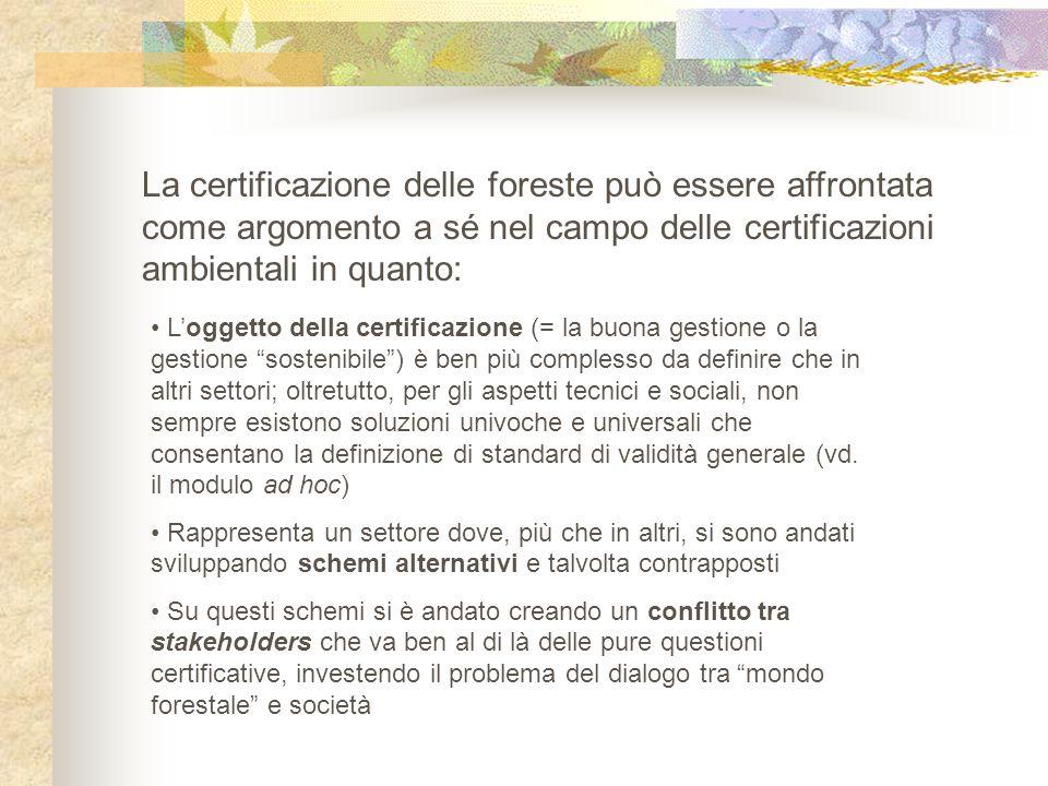 La certificazione delle foreste può essere affrontata come argomento a sé nel campo delle certificazioni ambientali in quanto: