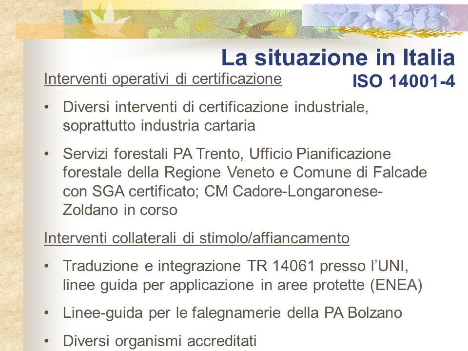La situazione in Italia ISO 14001-4