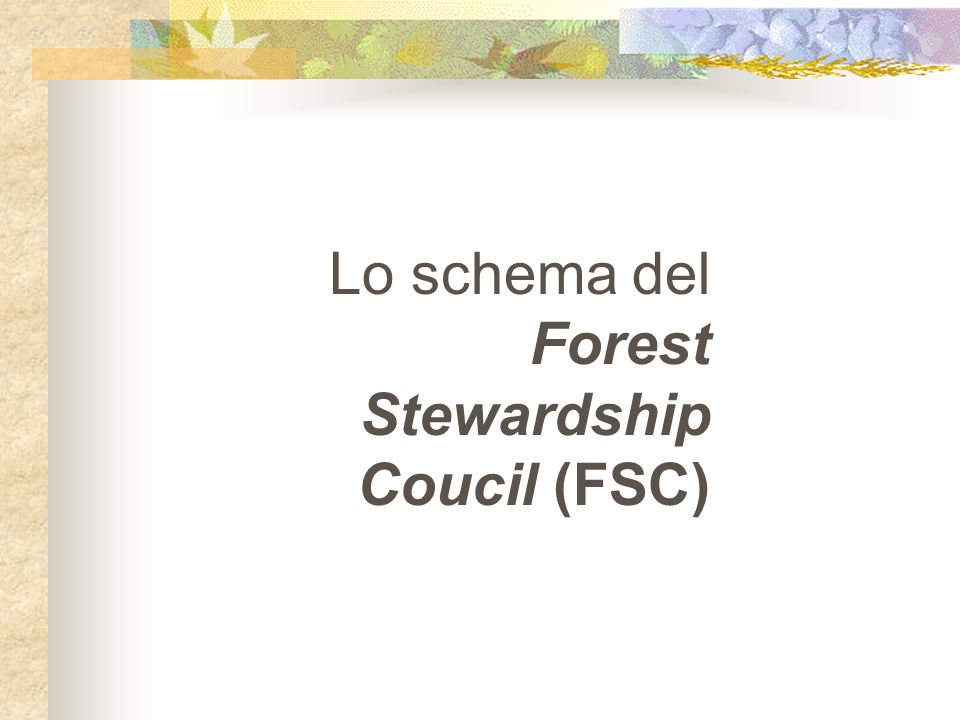 Lo schema del Forest Stewardship Coucil (FSC)