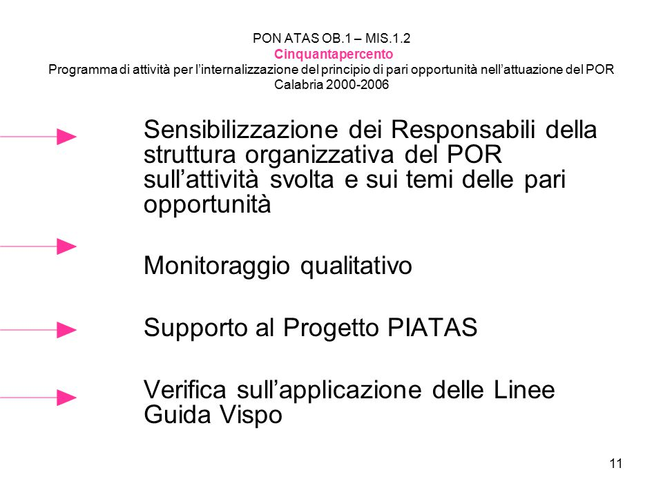 Monitoraggio qualitativo Supporto al Progetto PIATAS