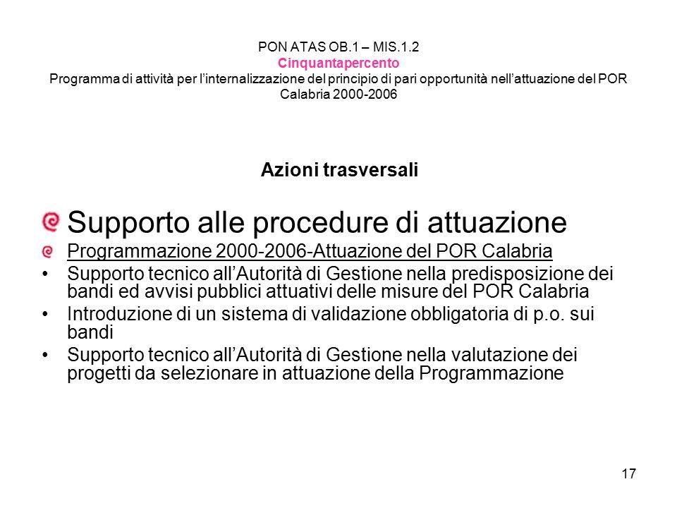 Supporto alle procedure di attuazione