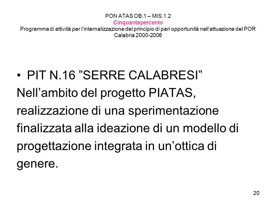 PIT N.16 SERRE CALABRESI Nell'ambito del progetto PIATAS,