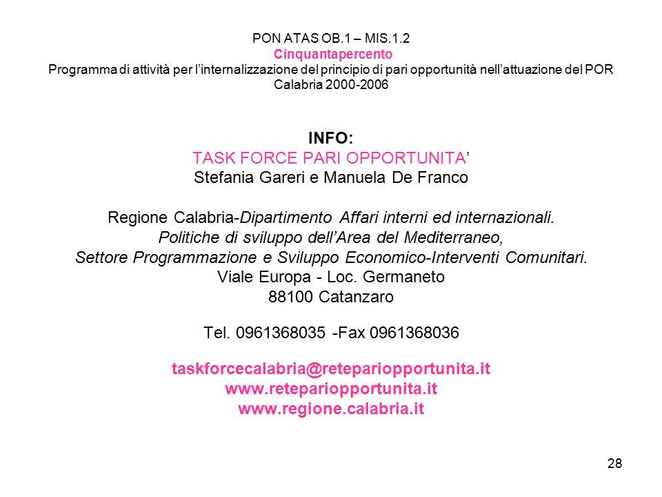 TASK FORCE PARI OPPORTUNITA' Stefania Gareri e Manuela De Franco