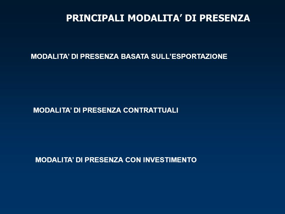 PRINCIPALI MODALITA' DI PRESENZA