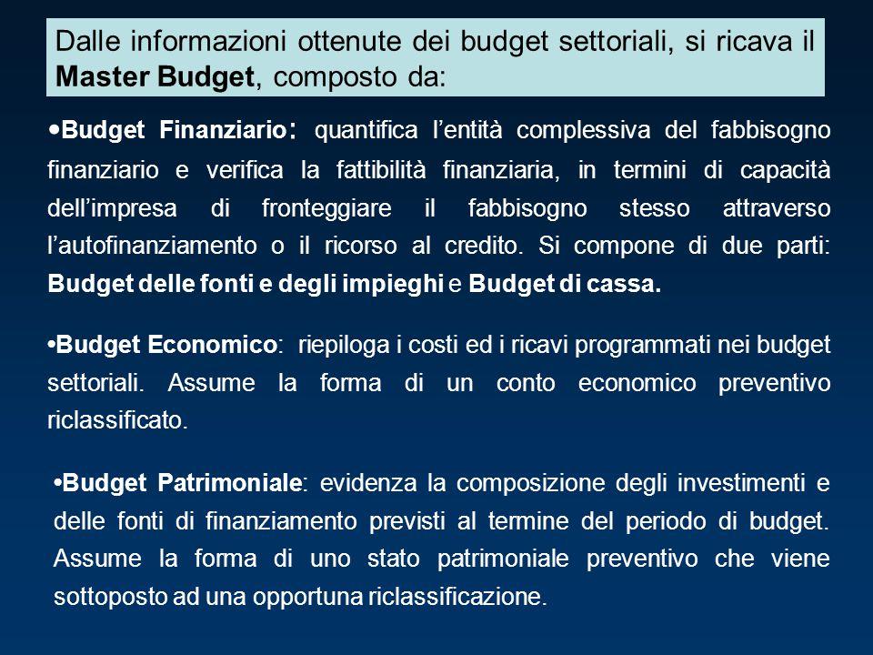 Dalle informazioni ottenute dei budget settoriali, si ricava il Master Budget, composto da:
