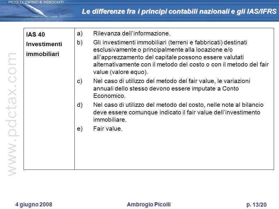 IAS 40 Investimenti immobiliari Rilevanza dell'informazione.