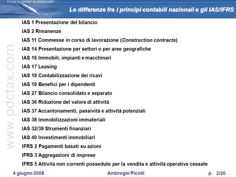 IAS 1 Presentazione del bilancio IAS 2 Rimanenze