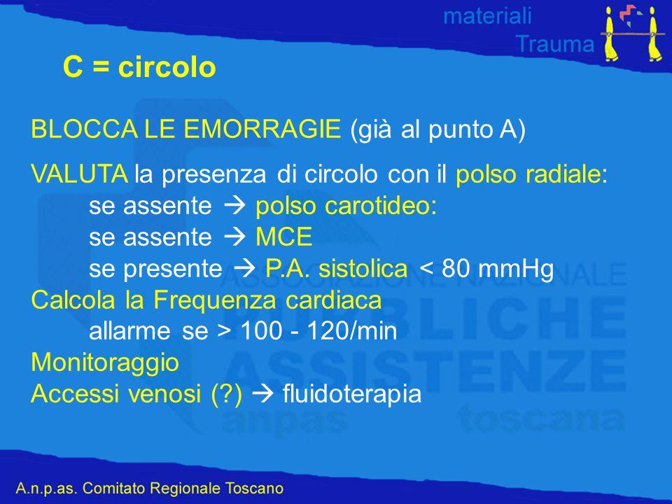 C = circolo BLOCCA LE EMORRAGIE (già al punto A)