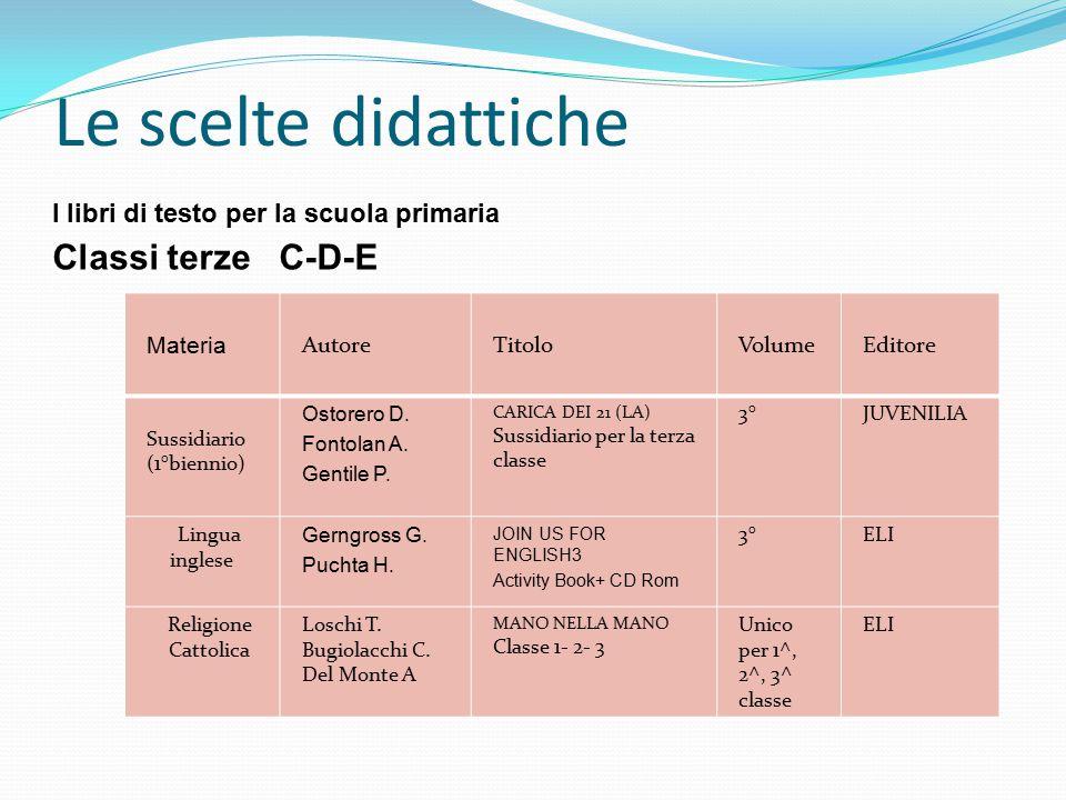 Le scelte didattiche Classi terze C-D-E