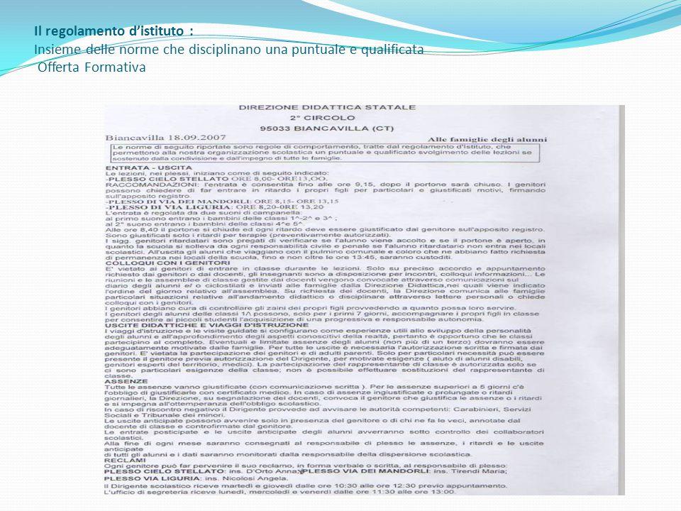 Il regolamento d'istituto : Insieme delle norme che disciplinano una puntuale e qualificata Offerta Formativa