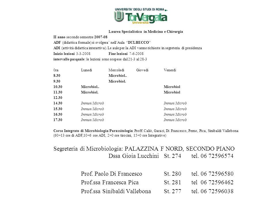 Prof. Paolo Di Francesco St. 280 tel. 06 72596580