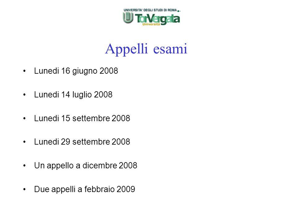 Appelli esami Lunedi 16 giugno 2008 Lunedi 14 luglio 2008