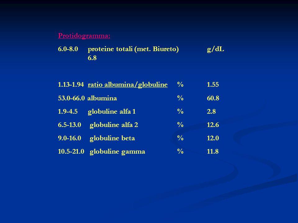 Protidogramma: 6.0-8.0 proteine totali (met. Biureto) g/dL 6.8. 1.13-1.94 ratio albumina/globuline % 1.55.
