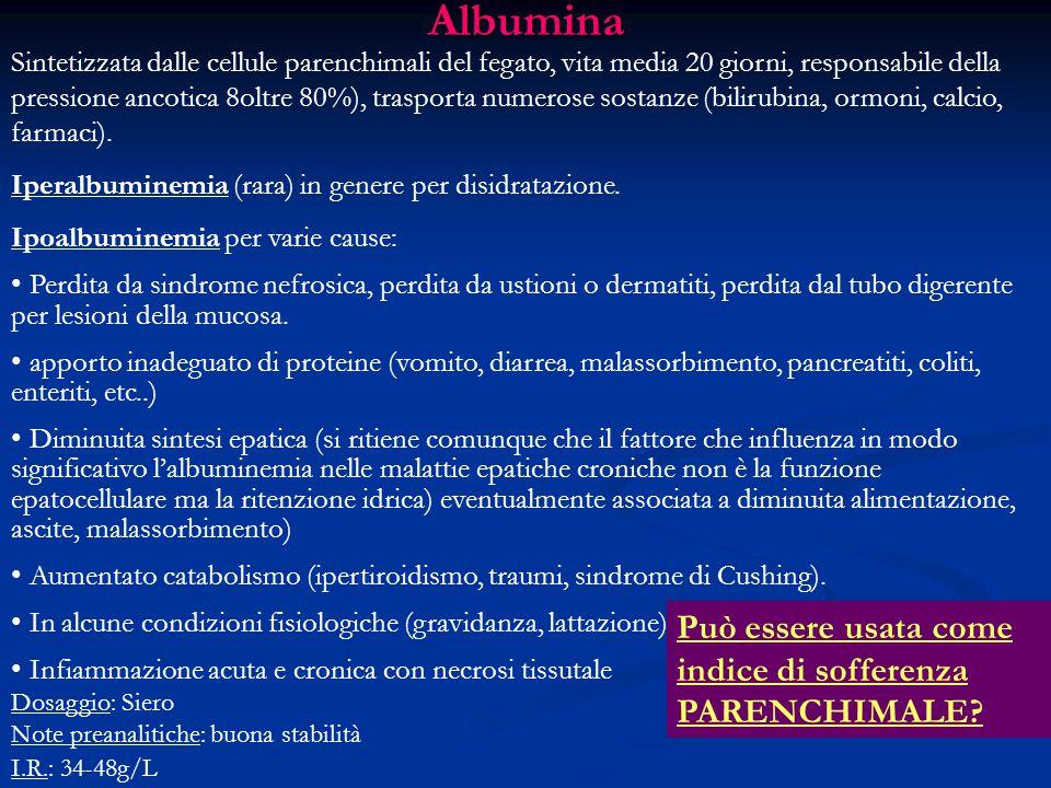 Albumina Può essere usata come indice di sofferenza PARENCHIMALE