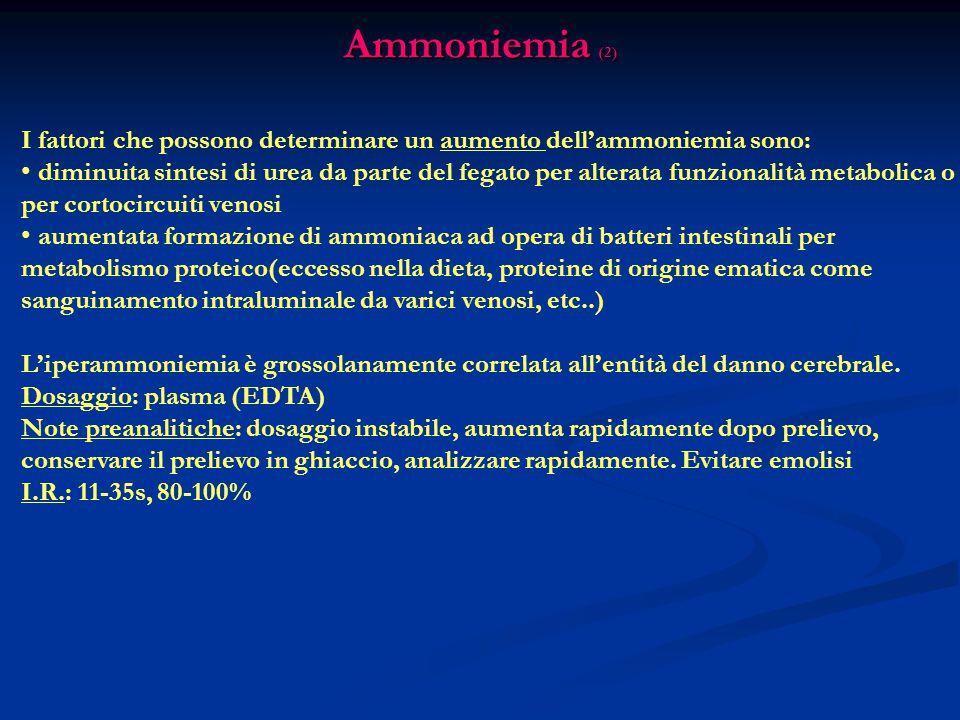 Ammoniemia (2) I fattori che possono determinare un aumento dell'ammoniemia sono: