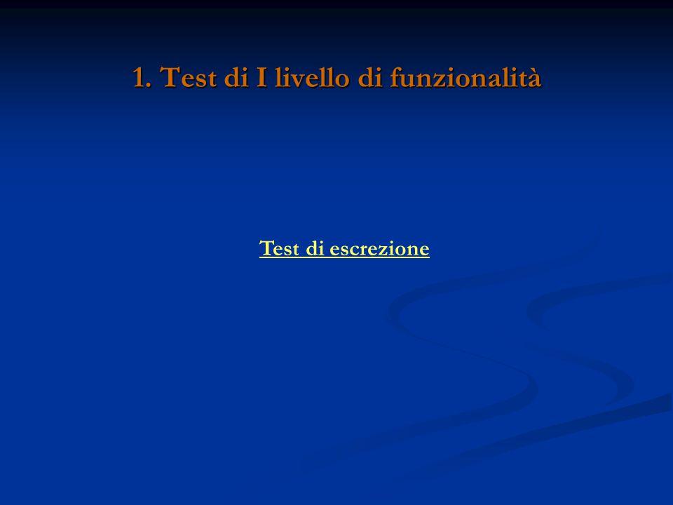1. Test di I livello di funzionalità