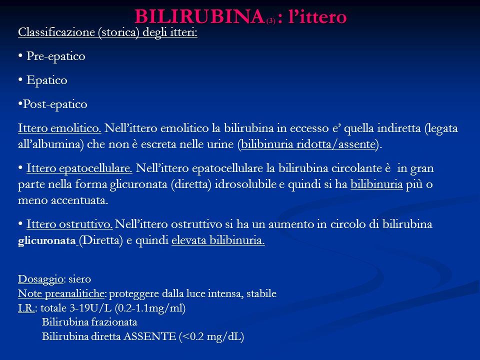 BILIRUBINA (3) : l'ittero