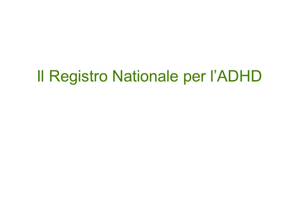Il Registro Nationale per l'ADHD