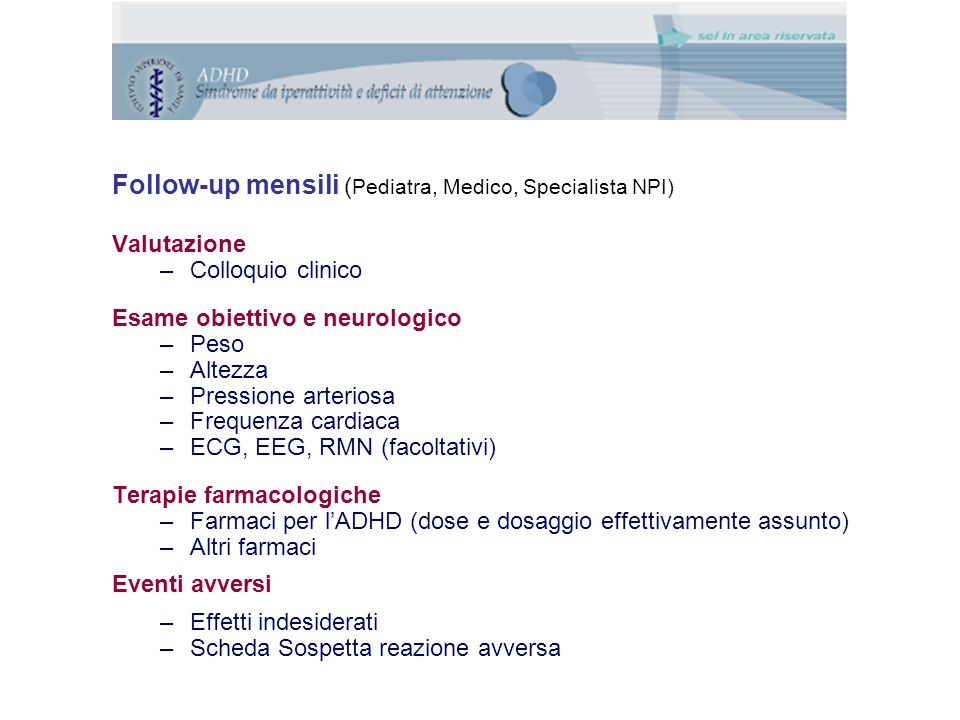 Follow-up mensili (Pediatra, Medico, Specialista NPI)